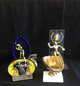 Softball Trophies in Stock: Trophy with blue stars- 12.00 First place trophy with clear backdrop- 13.50 Burst thru Oval plate 6 inch 12.50 Game ball glove-10.00