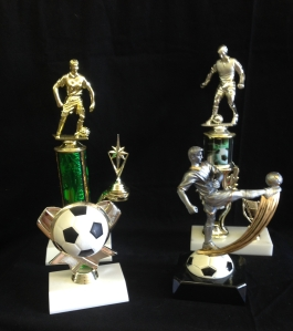 Green 11 inch Trophy-11.50  Green with soccer balls 12 inch trophy-12.50  Soccer ball trophy- 8.25  Resin Kicking ball- 13.50